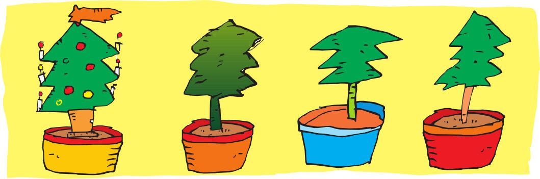 Obrázek vánočních stromů, kreslil R. Pospíšil